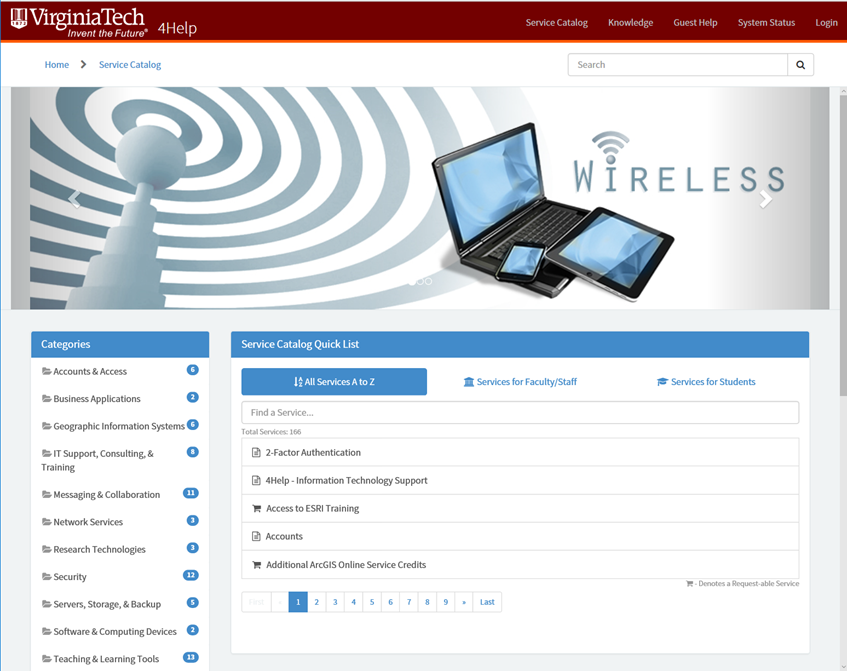 Image of the front page or home page of the VT IT service catalog with a list of categories and services and banner image about wireless